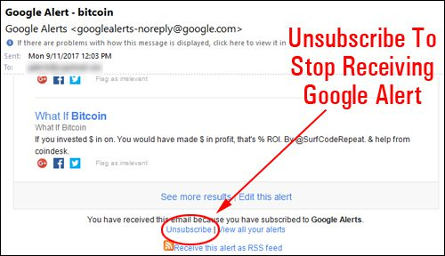 Google Alerts Unsubscribe